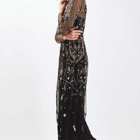 Embroidered Bead Maxi Dress - Dresses - Clothing