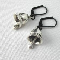 Bell Earrings With Jingles Antiqued Silver Black Leverback Ear Wires