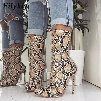 Beige Women Lace-Up Boots Snake Print Ankle Boots High heels Fashion Pointed toe Ladies Sexy shoes  Chelsea Boots