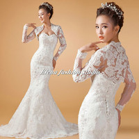 Long sleeves Wedding dress, Vintage Lace Gown, Sweetheart Chapel lenth Bridal Gown, CUSTOM