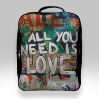 Backpack for Student - Beatles Graffiti All You Need is Love Bags