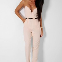 After Party Nude Structured Gold Detail Jumpsuit | Pink Boutique
