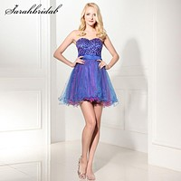 Charming Sweetly Tulle cocktail dresses Mini Strapless Lace-up Back Sleeveless A-Line Pretty Prom Party Gowns Sequins Hot SD101