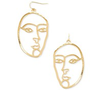 Cutout Face Drop Earrings