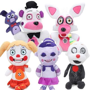 15pcs 25cm  At  Sister Location Funtime Freddy Fazbear Foxy Circus Baby Ennard Plush Toys Keychain  Dolls