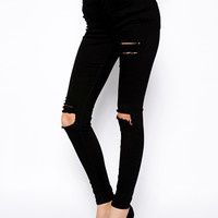 Denim Female Knee Ripped Stretch Skinny Jeans (Black)