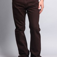 Men's Straight Fit Colored Denim Jeans (Brown)