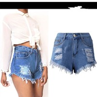 Loose Ripped Hole Women's Short Jeans Casual Denim Shorts