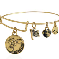 Alex and Ani  style god daughter pendant charm bracelet, a perfect gift !
