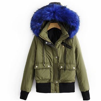 The women were fitted with a blue fur collar coat