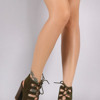 Bamboo Suede Corset Lace-Up Chunky Stacked Heel