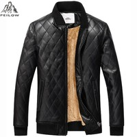 New winter jackets men High quality motorcycle leather jackets warm fleece Plaid parka men p u leather coat