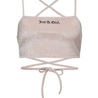 EMBROIDERED GLITTER CROP STRAP TOP – New Girl Order