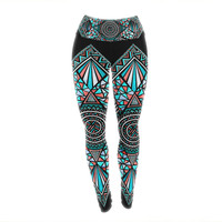 "Pom Graphic Design ""Geo Glass"" Teal Black Yoga Leggings"