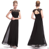 Black Lace Long Maxi Evening Formal Party Prom Dress Gown Size 10-18 *UK SELLER*
