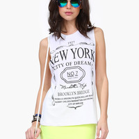 "Cutout-Back ""NEW YORK"" Print Crop Muscle Tank Tee"