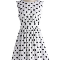 Emily and Fin Mid-length Sleeveless A-line Too Much Fun Dress in Black Dots