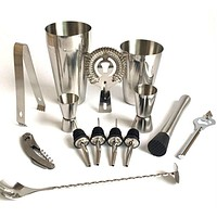 Premium Shaker Barware Set - 13 Pieces Bartender Kit Includes shaker , rack, spoon, pourer, straw & ice tong Cocktail Shaker