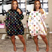 LV new women's letters printed casual dress