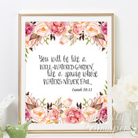Nursery bible verse wall decor print, printable nursery bible verses, You will be like a well watered garden, framed bible quote print
