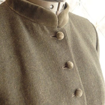 ON SALE 80s // Vintage 1980s Loden Green Wool Blend Skirt Suit with Velveteen Collar and Buttons by Evan PiconeSize S