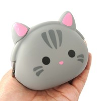 Grey Kitty Cat Face Shaped Mimi Pochi Animal Friends Silicone Clasp Coin Purse Pouch