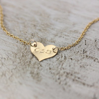 Delicate Personalized Heart Necklace - 14k Gold Fill or Sterling Silver - Initial Necklace - Suspended Heart by Christina Guenther