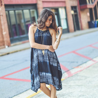 Asymmetrical Aztec Sundress in Black