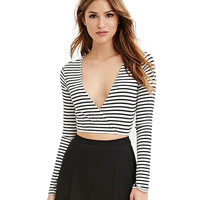 Stripe V-Neck Long-Sleeve Crop Top