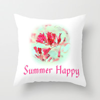 pretty pink summer flowers, summer happy floral photo art. Throw Pillow by NatureMatters