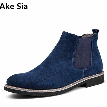 Ake Sia 2017New stock arrival Martin boots male shoes desert Chelsea boots Anti-skid retro trend man leather knights boots hot