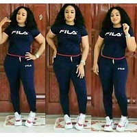 FILA Fashion Women Casual Short Sleeve Top Pants Two-Piece Navy Blue