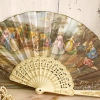 Vintage French figural ladies fan spanish fan souvenir shabby chic decor
