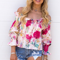 Frill Off Shoulder Floral Top - Pink