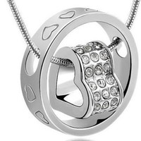 Crystal Chain Pendant Heart Inside Circle  Necklace