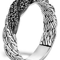 Women's John Hardy 'Classic Chain' Twisted Band Ring - Silver/ Black Sapphire