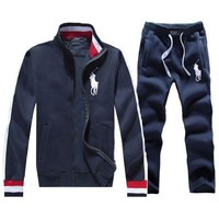 Polo Lauren Ralph autumn and winter new stand collar men's zipper cardigan sports suit two-piece Blue