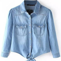 Blue Denim Blouse with Pockets