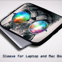 space cat glasses Z1622 Sleeve for Laptop, Macbook Pro, Macbook Air (Twin Sides)