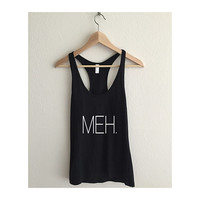 Meh Typography  Athletic Racerback Tank Top