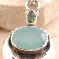 Sparkling Blue Chalcedony/ Peridot Pendant in 925 Sterling Silver