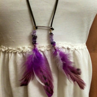 Amethyst ,feather, bohemian, necklace, feather necklace, real feathers, crystal healing, tribal, aztec, hippie, free people, anthropology,