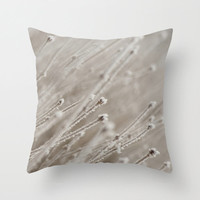 White Throw Pillow Cover Macro Photography Print Polyester Winter Theme Pillow Cases Snow Frost
