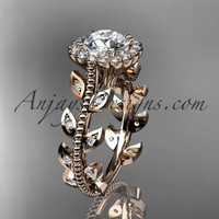 """14k rose gold diamond leaf and vine wedding ring, engagement ring with a """"Forever One"""" Moissanite center stone ADLR118"""