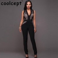 New Casual Ladies Fashion Sexy Sleeveless V Neck Jumpsuit Lace Grenadine Patchwork Stylish Pants Slim Bodycon Cotton Rompers