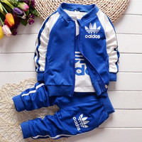 2017 new casual baby girl/ boy clothes cotton t-shirt + coat + pants 3 pes suits baby clothes kids clothing sets free shipping