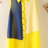 Mixed Color Chiffon Shirt without Sleeves from topsales