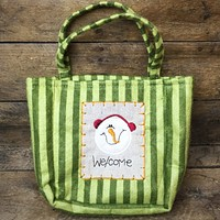 Snowman Welcome Green Striped Fabric Bag