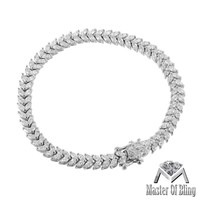 2 Row Pear Shape Lab Diamond White Gold Finish 925 Silver Ladies Bracelet