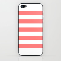 Coral White Stripes iPhone & iPod Skin by M Studio